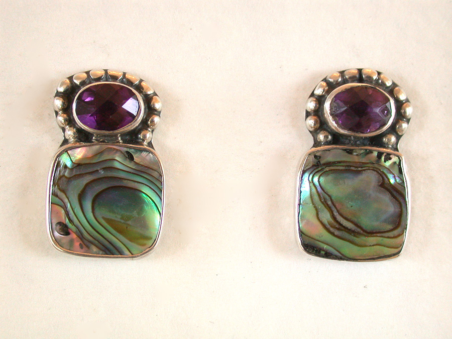 Amy Kahn Russell Online Trunk Show: Amethyst & Abalone Post Earrings | Rendezvous Gallery