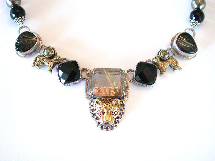 Amy Kahn Russell Online Trunk Show: Rutilated Quartz, Black Onyx & Chalco Pyrite Necklace | Rendezvous Gallery