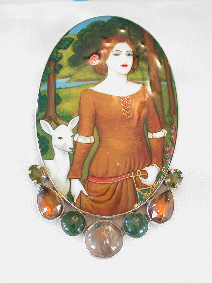 Amy Kahn Russell Online Trunk Show: Russian Hand Painting on Black Onyx, Peridot & Topaz Pin/Pendant | Rendezvous Gallery