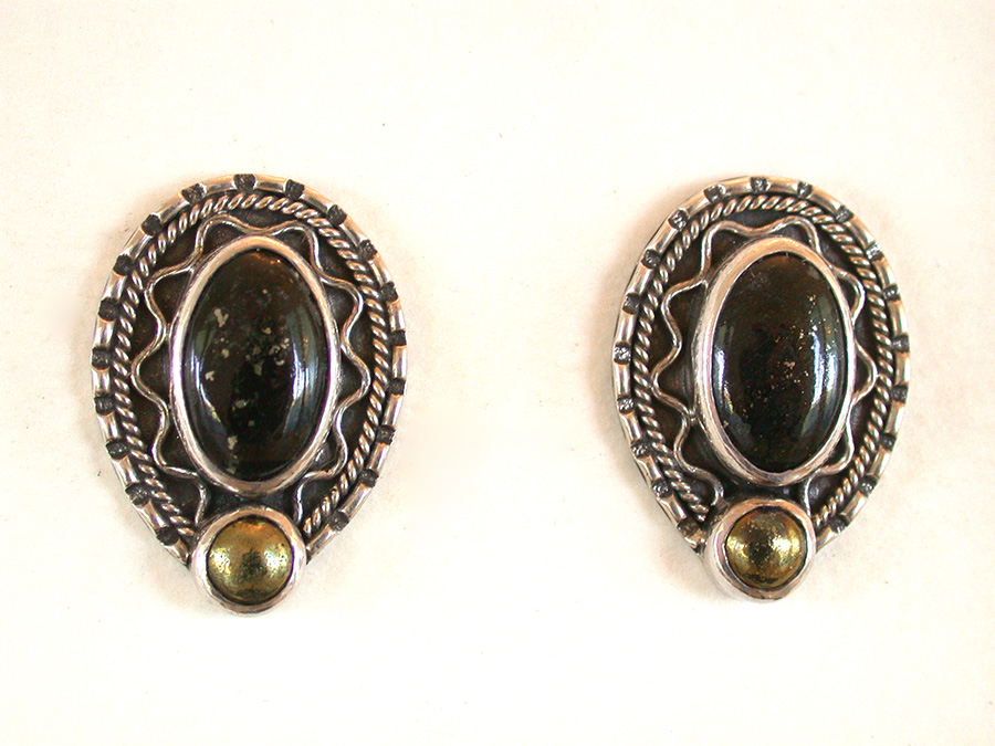 Amy Kahn Russell Online Trunk Show: Black Jade w/Pyrite & Chalco Pyrite Post Earrings | Rendezvous Gallery
