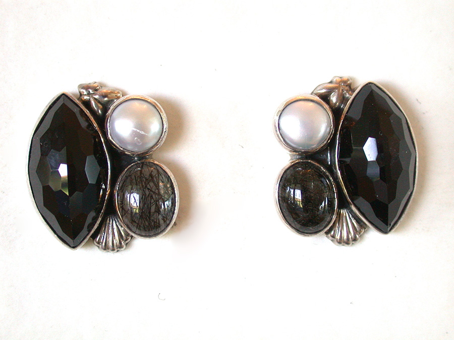 Amy Kahn Russell Online Trunk Show: Tourmalated Quartz, Pearl & Black Onyx Post Earrings | Rendezvous Gallery