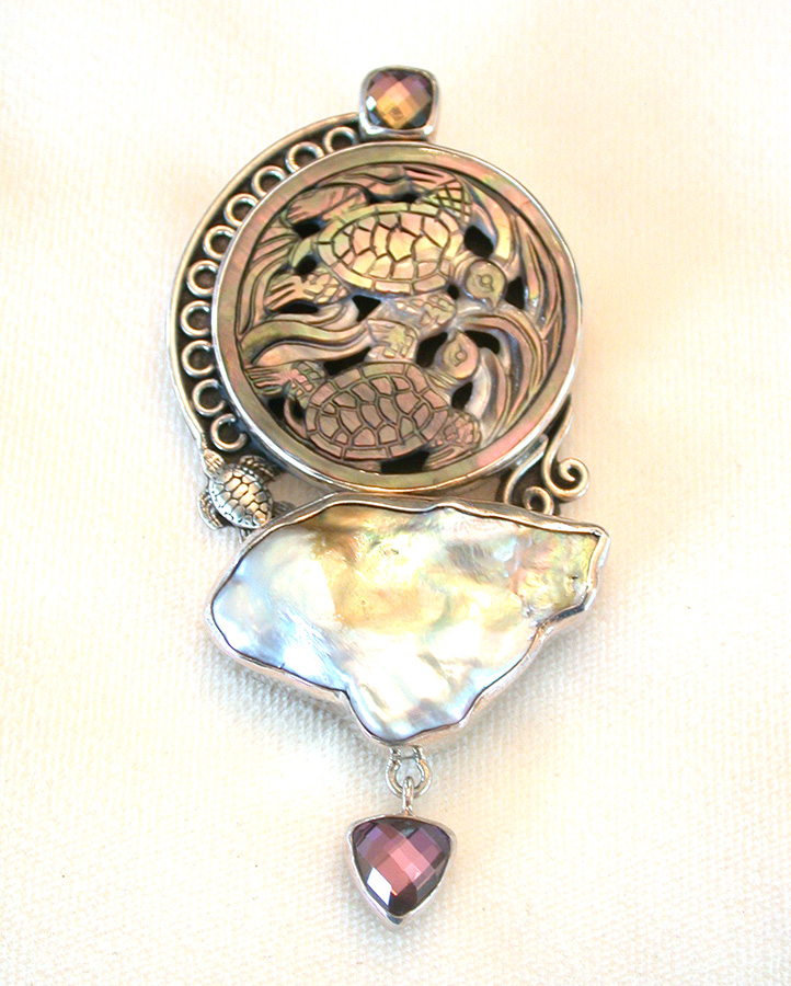 Amy Kahn Russell Online Trunk Show: Celestial Quartz, Carved Mother of Pearl & Pearl Pin/Pendant | Rendezvous Gallery