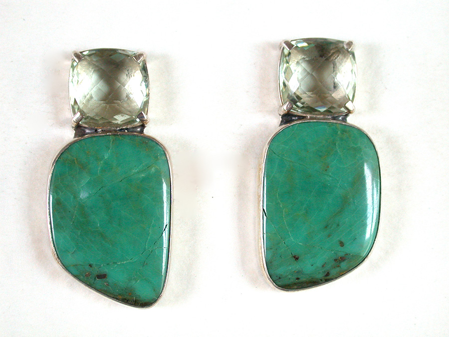 Amy Kahn Russell Online Trunk Show: Faceted Lemon Quartz & Turquoise Post Earrings | Rendezvous Gallery