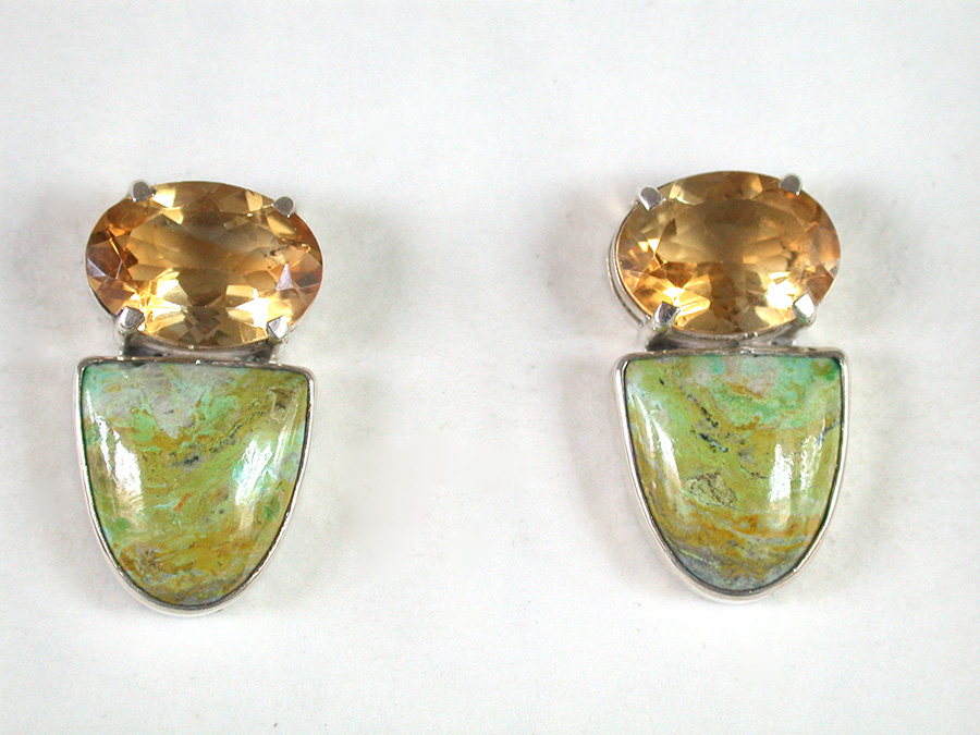 Amy Kahn Russell Online Trunk Show: Faceted Citrine & Jardin de Primavera Post Earrings | Rendezvous Gallery