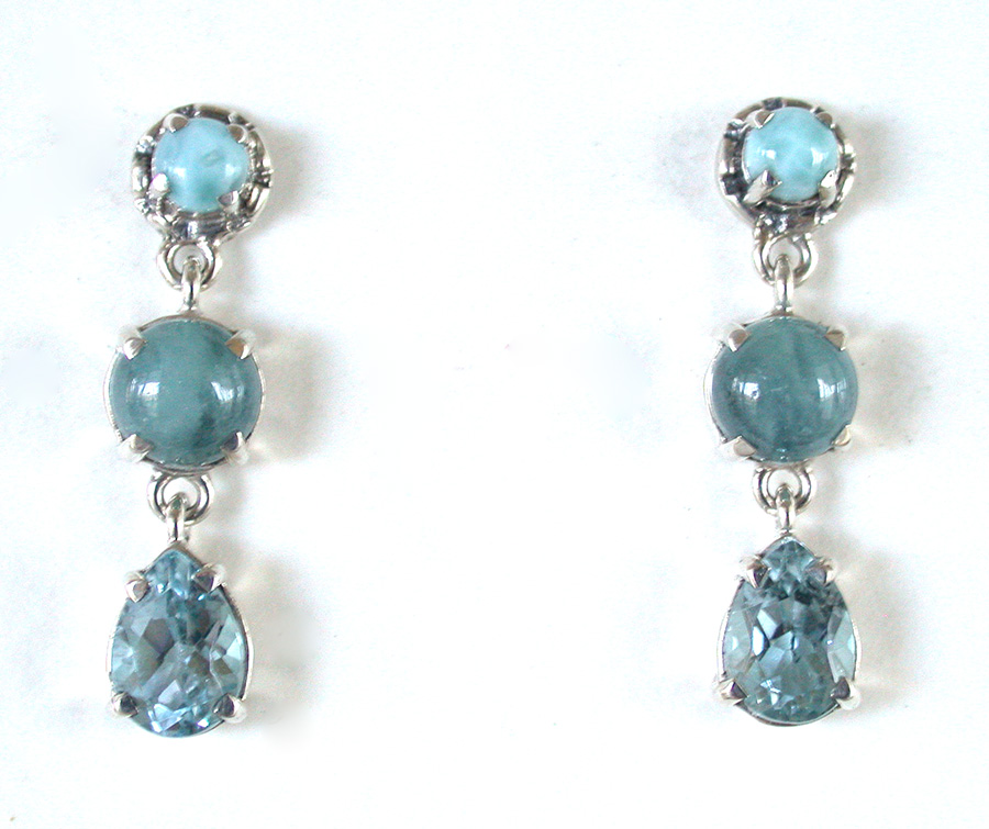 Amy Kahn Russell Online Trunk Show: Larimar, Aquamarine & Blue Topaz Post Earrings | Rendezvous Gallery