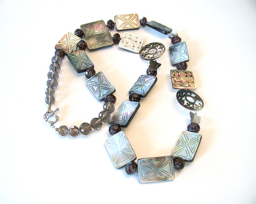 Amy Kahn Russell Online Trunk Show: Hand Carved Mother of Pearl & Glass Bead Necklace | Rendezvous Gallery