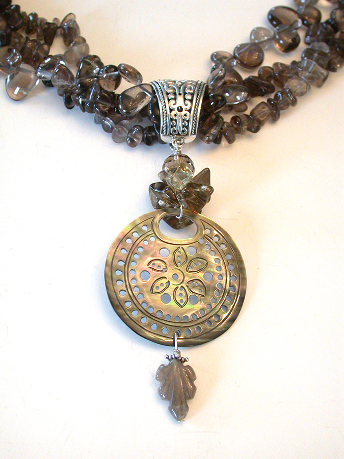 Amy Kahn Russell Online Trunk Show: Carved Mother of Pearl & Smokey Quartz Necklace | Rendezvous Gallery