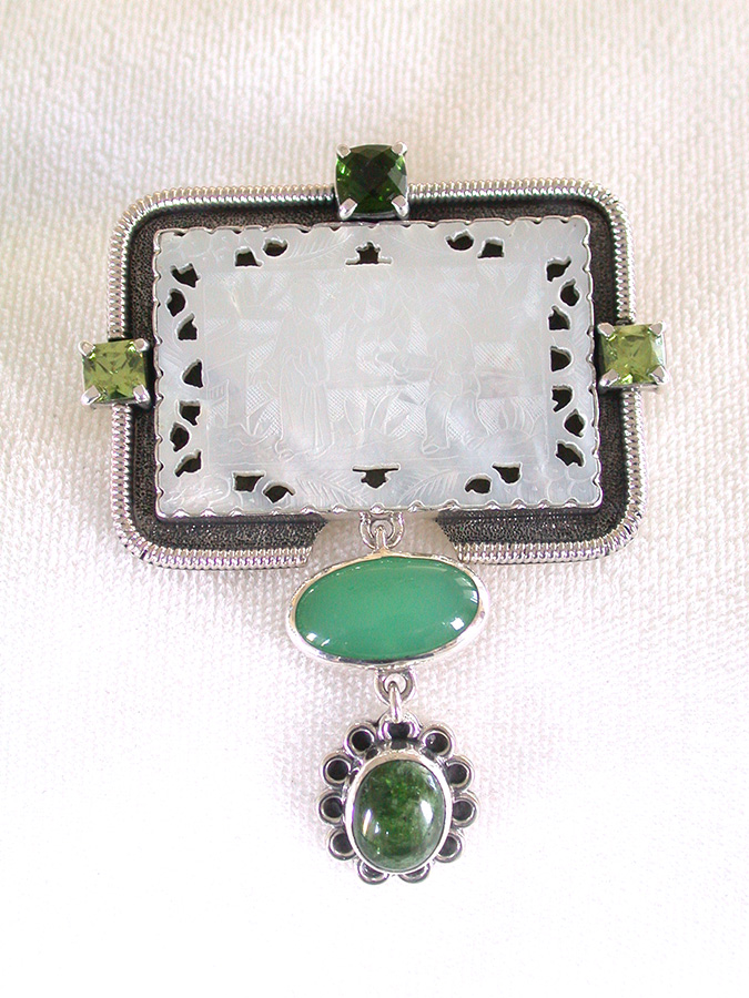 Amy Kahn Russell Online Trunk Show: Peridot, Antique Game Piece & Chrysoprase Pin/Pendant | Rendezvous Gallery
