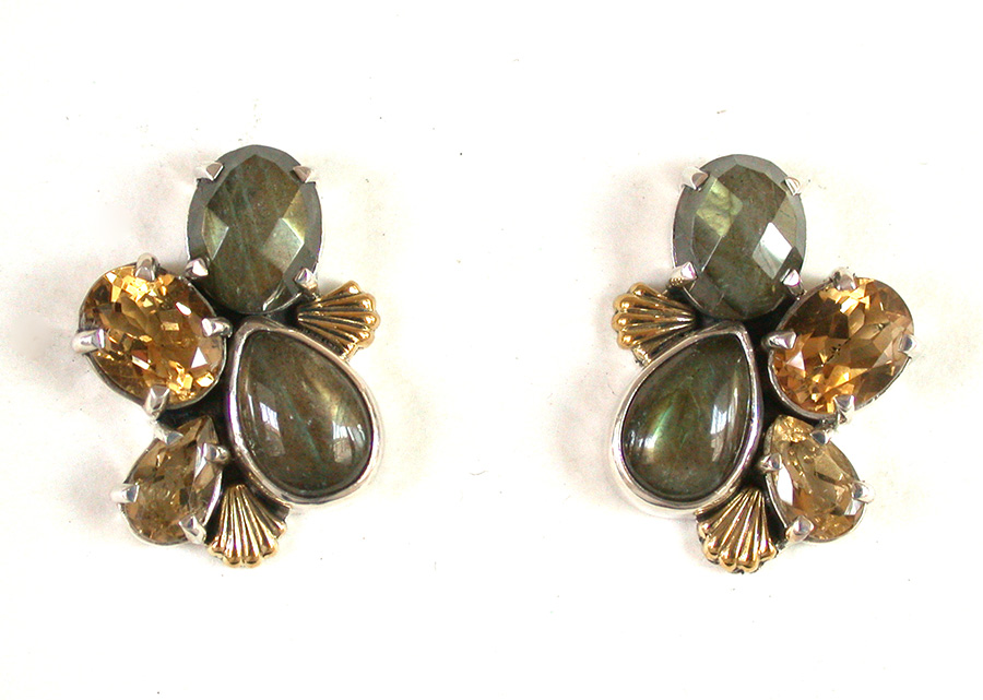 Amy Kahn Russell Online Trunk Show: Labradorite & Citrine Clip Earrings | Rendezvous Gallery