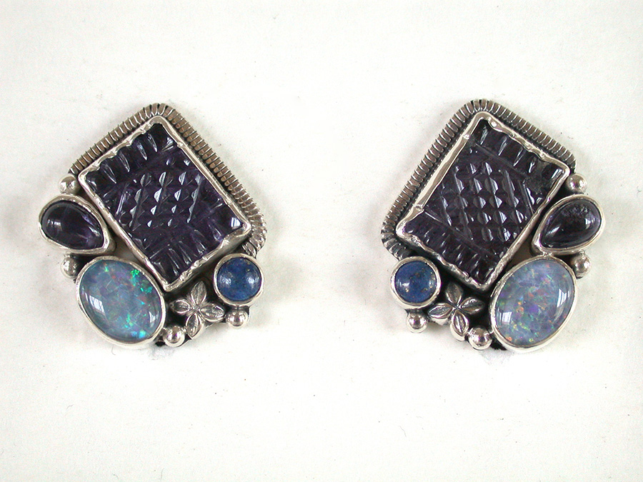 Amy Kahn Russell Online Trunk Show: Carved Iolite, Opal & Lapis Lazuli Post Earrings | Rendezvous Gallery