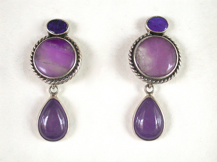 Amy Kahn Russell Online Trunk Show: Opal, Sugalite & Purple Agate Post Earrings | Rendezvous Gallery