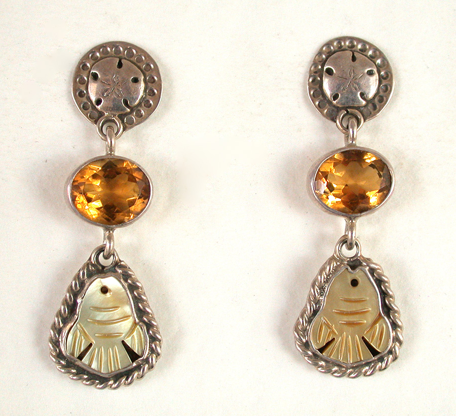 Amy Kahn Russell Online Trunk Show: Sterling Silver, Yellow Topaz & Mother of Pearl Post Earrings | Rendezvous Gallery