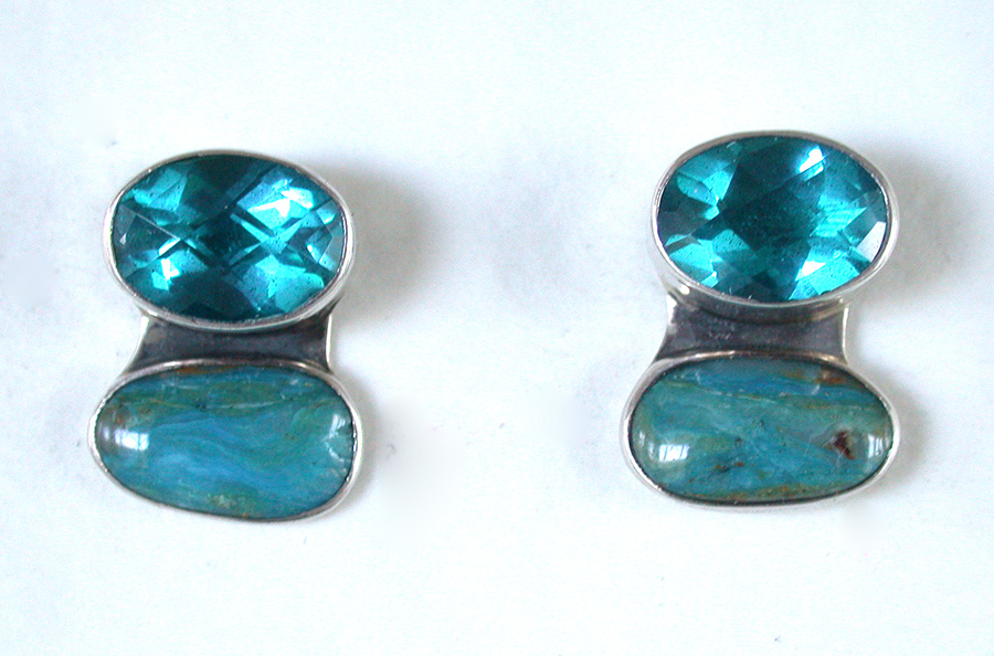 Amy Kahn Russell Online Trunk Show: Faceted Quartz & Chrysocolla Post Earrings | Rendezvous Gallery
