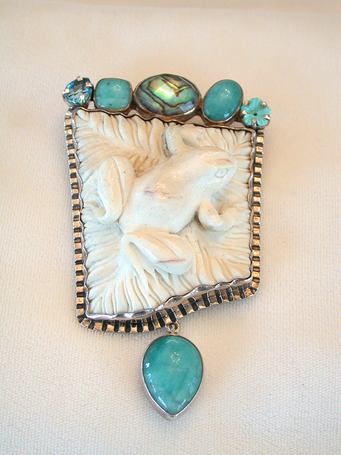 Amy Kahn Russell Online Trunk Show: Chalcedony, Opal & Carved Mother of Pearl Pin/Pendant | Rendezvous Gallery