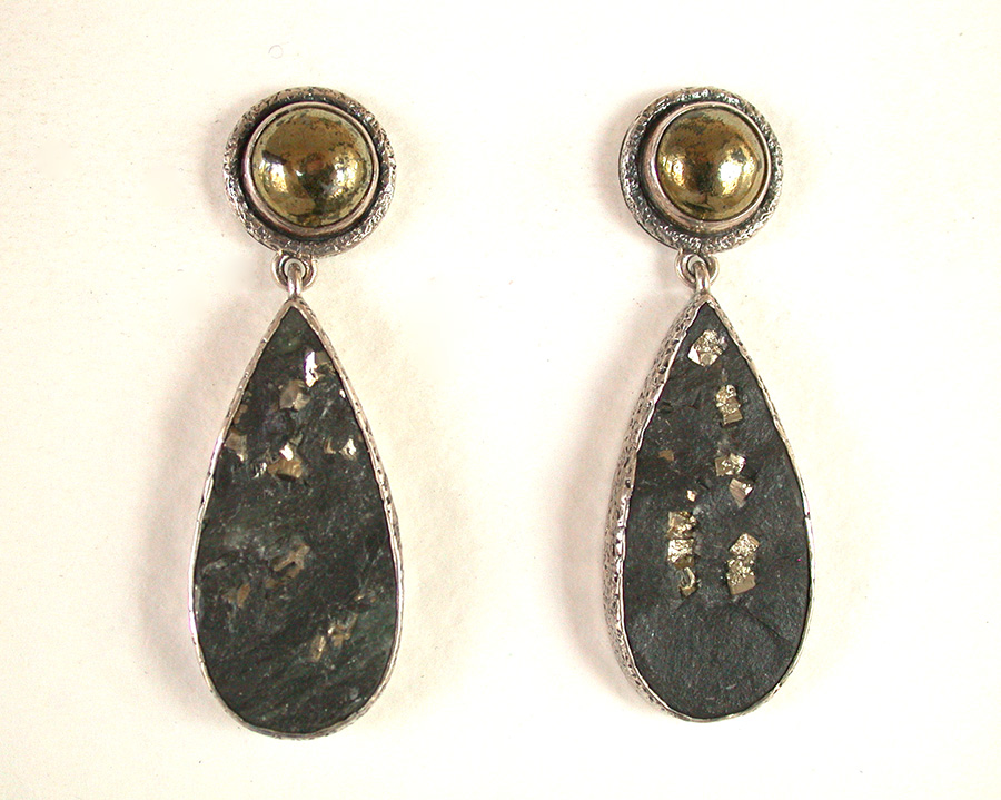Amy Kahn Russell Online Trunk Show: Quartz, Chalco Pyrite & Slade Pyrite Post Earrings | Rendezvous Gallery
