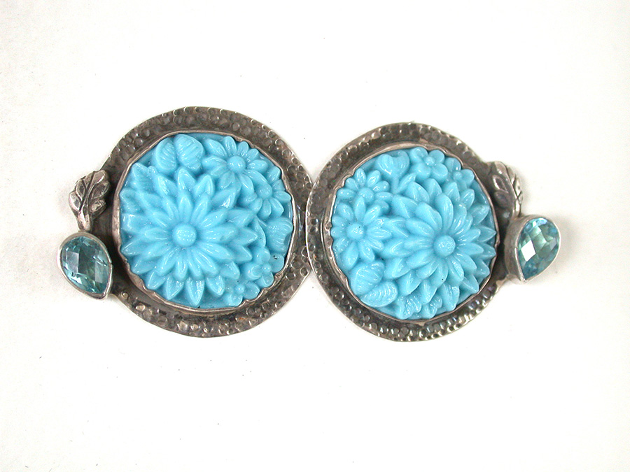 Amy Kahn Russell Online Trunk Show: Vintage Glass & Faceted Blue Topaz Clip Earrings | Rendezvous Gallery