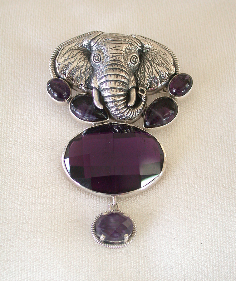 Amy Kahn Russell Online Trunk Show: Sterling Silver Elephant & Amethyst Pin/Pendant | Rendezvous Gallery