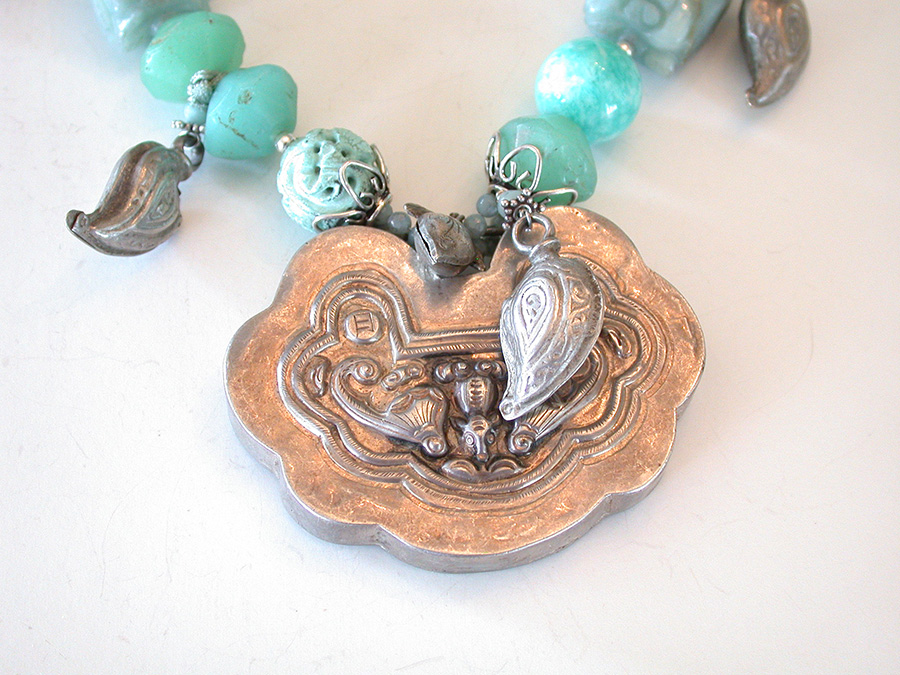 Amy Kahn Russell Online Trunk Show: Antique Chinese Silver, Jade, Amazonite, Turquoise & Glass Necklace | Rendezvous Gallery
