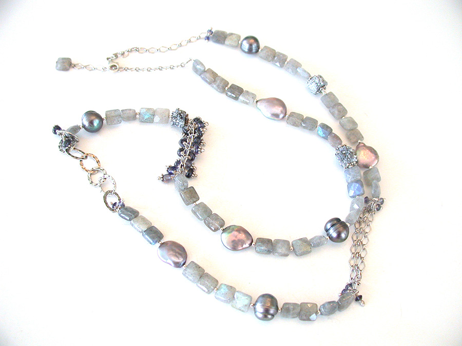 Amy Kahn Russell Online Trunk Show: Labradorite, Pyrite & Freshwater Pearl Necklace | Rendezvous Gallery