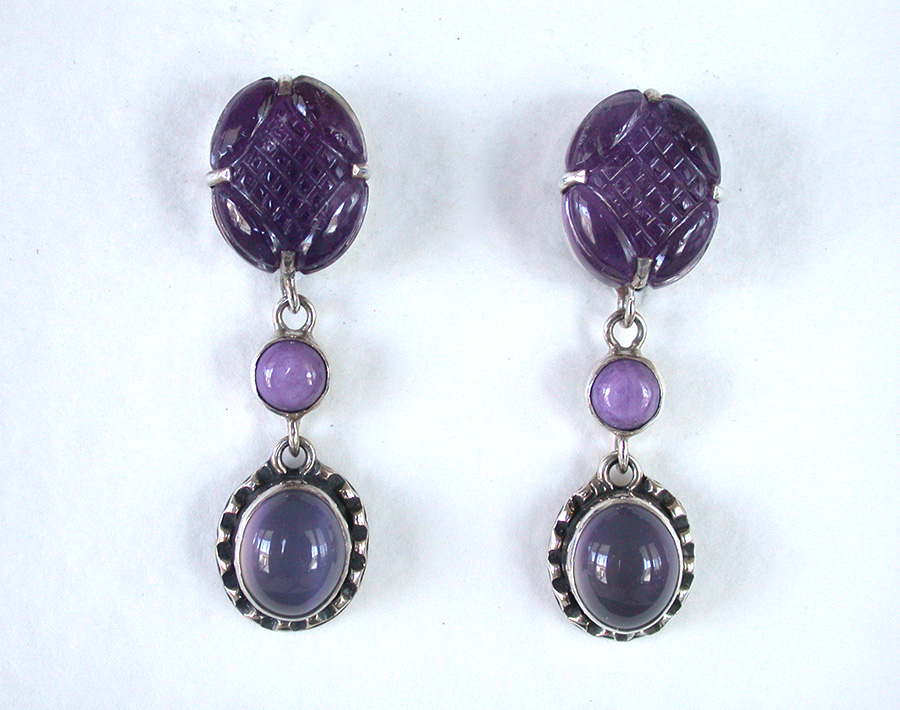 Amy Kahn Russell Online Trunk Show: Amethyst, Charoite & Moonstone Clip Earrings | Rendezvous Gallery