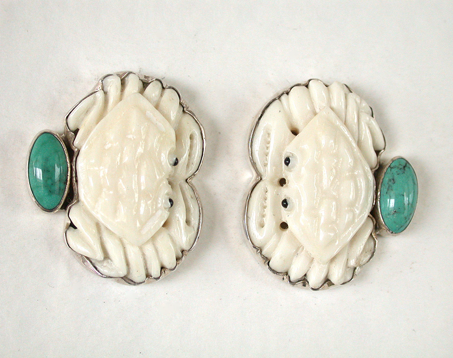 Amy Kahn Russell Online Trunk Show: Quartz, Hand Carved Bone & Turquoise Clip Earrings | Rendezvous Gallery