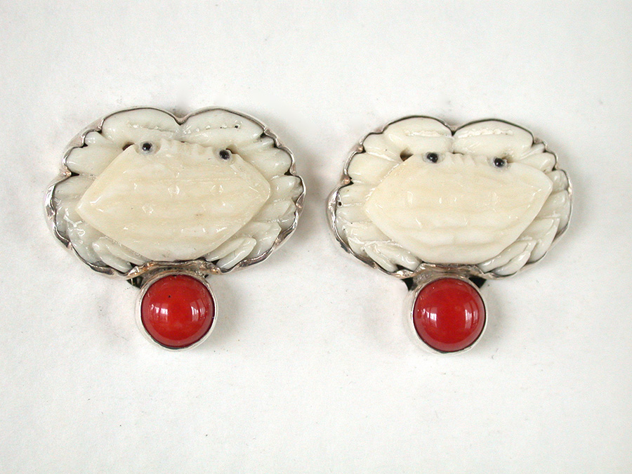 Amy Kahn Russell Online Trunk Show: Hand Carved Bone & Bamboo Coral Clip Earrings | Rendezvous Gallery