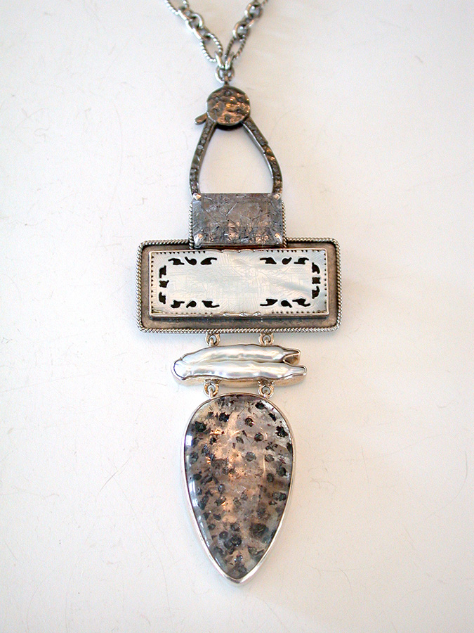 Amy Kahn Russell Online Trunk Show: Quartz, Mother of Pearl Game Piece & Pearl Pin/Pendant/Necklace | Rendezvous Gallery