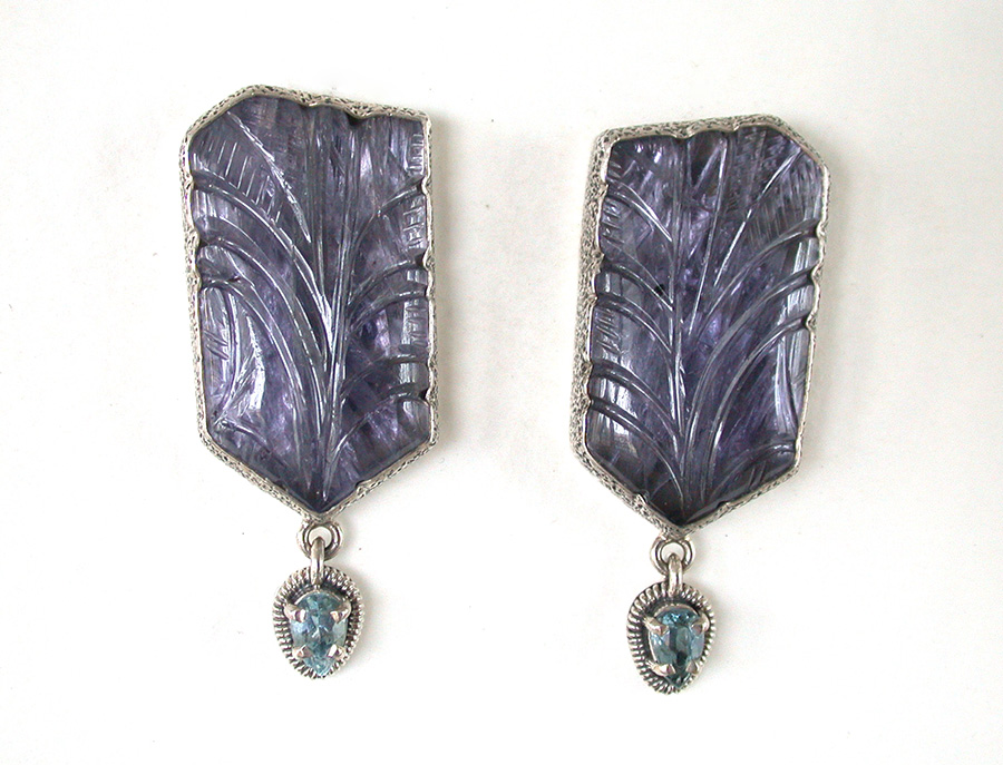 Amy Kahn Russell Online Trunk Show: Hand Carved Iolite & Blue Topaz Clip Earrings | Rendezvous Gallery