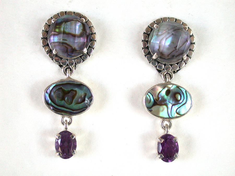 Amy Kahn Russell Online Trunk Show: Quartz, Abalone & Amethyst Clip Earrings | Rendezvous Gallery