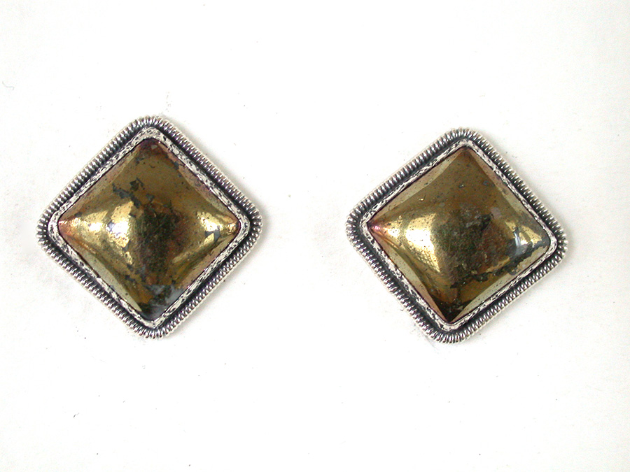 Amy Kahn Russell Online Trunk Show: Chalco Pyrite Clip Earrings | Rendezvous Gallery