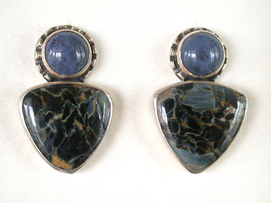 Amy Kahn Russell Online Trunk Show: Sodalilte & Petersite Clip Earrings | Rendezvous Gallery