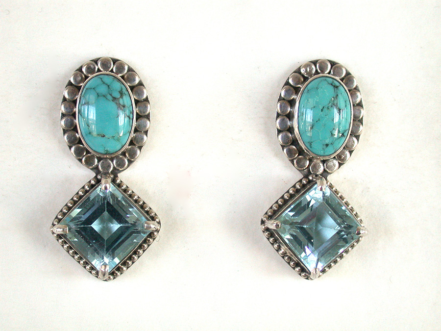 Amy Kahn Russell Online Trunk Show: Quartz, Turquoise & Blue Topaz Post Earrings | Rendezvous Gallery
