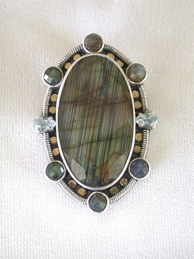 Amy Kahn Russell Online Trunk Show: Labradorite & Blue Topaz Pin/Pendant | Rendezvous Gallery
