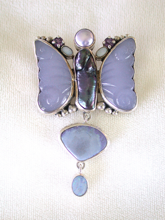 Amy Kahn Russell Online Trunk Show: Carved Chalcedony, Freshwater Pearl, Opal & Amethyst Pin/Pendant | Rendezvous Gallery