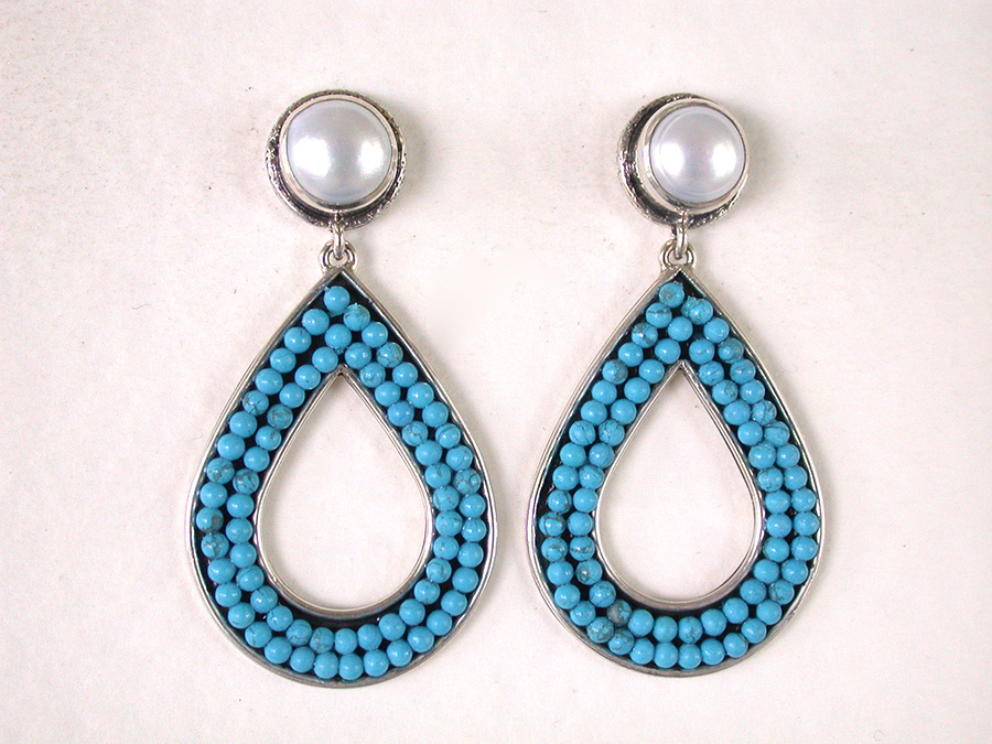 Amy Kahn Russell Online Trunk Show: Freshwater Pearl & Turquoise Post Earrings | Rendezvous Gallery