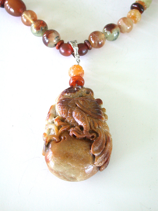 Amy Kahn Russell Online Trunk Show: Carved Burmese Jade & Natural Agate Necklace | Rendezvous Gallery