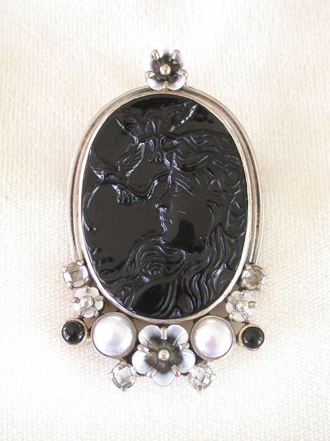 Amy Kahn Russell Online Trunk Show: Hand Carved Black Onyx, Mother of Pearl, Freshwater Pearl & Crystal Pin/Pendant | Rendezvous Gallery
