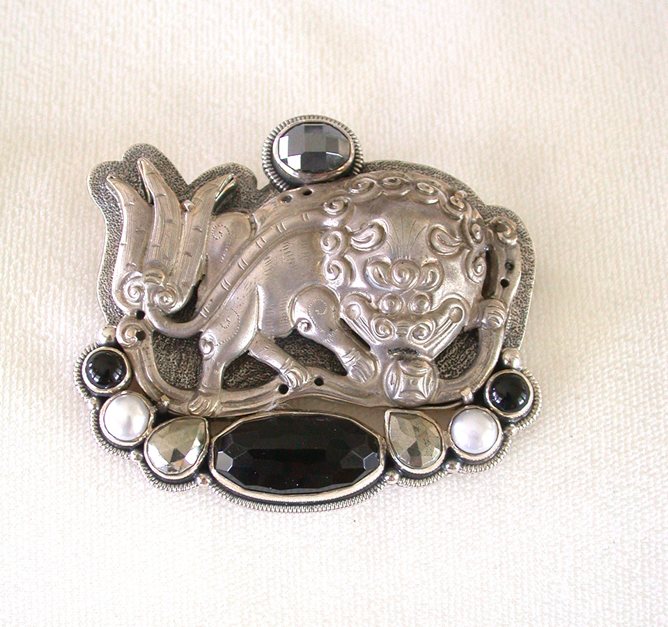 Amy Kahn Russell Online Trunk Show: Sterling Silver Foodog, Hematite, Black Onyx & Pearl Pin/Pendant | Rendezvous Gallery