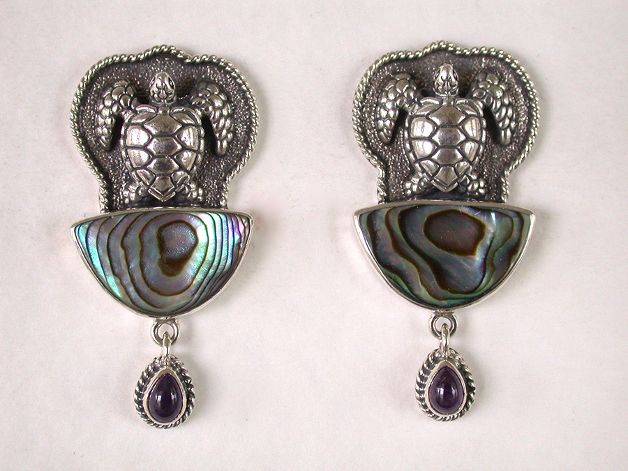 Amy Kahn Russell Online Trunk Show: Sterling Silver, Abalone & Iolite Post Earrings | Rendezvous Gallery