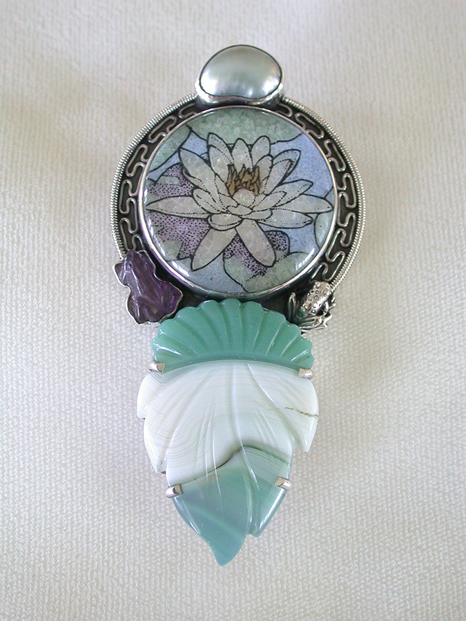 Amy Kahn Russell Online Trunk Show: Pearl, Gemstone Mosaic, Amethyst & Carved Onyx Pin/Pendant | Rendezvous Gallery