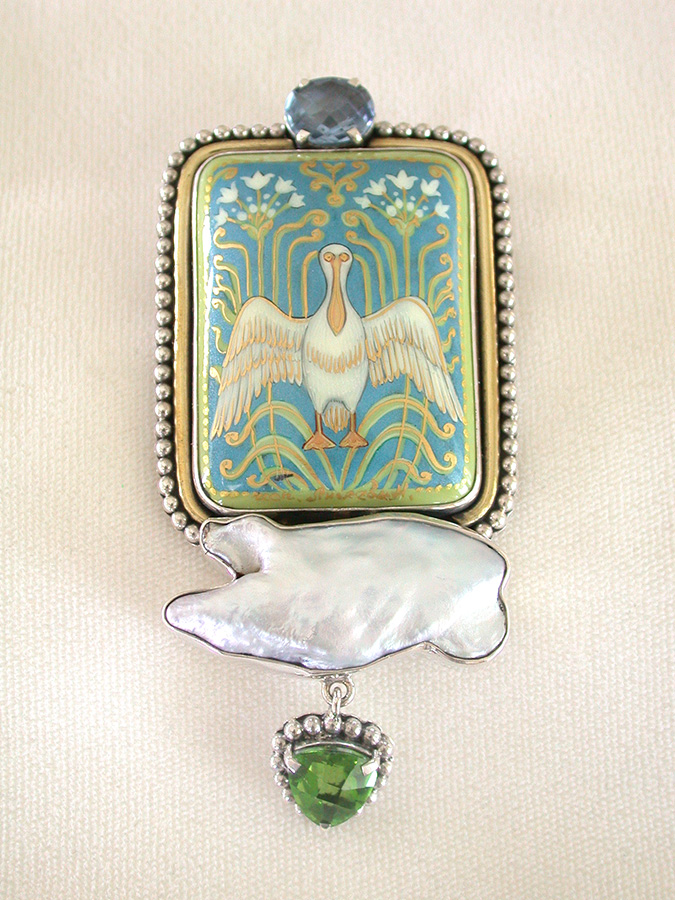 Amy Kahn Russell Online Trunk Show: Russian Hand Painting on Black Onyx, Pearl & Quartz Pin/Pendant | Rendezvous Gallery