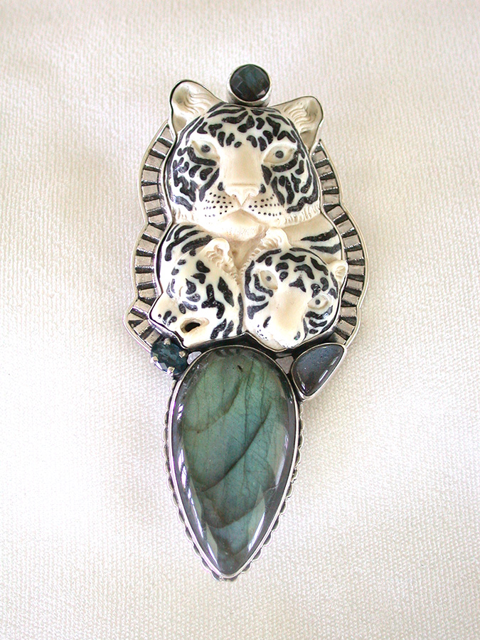 Amy Kahn Russell Online Trunk Show: Hand Carved Bone, Black Onyx & Labradorite Pin/Pendant | Rendezvous Gallery