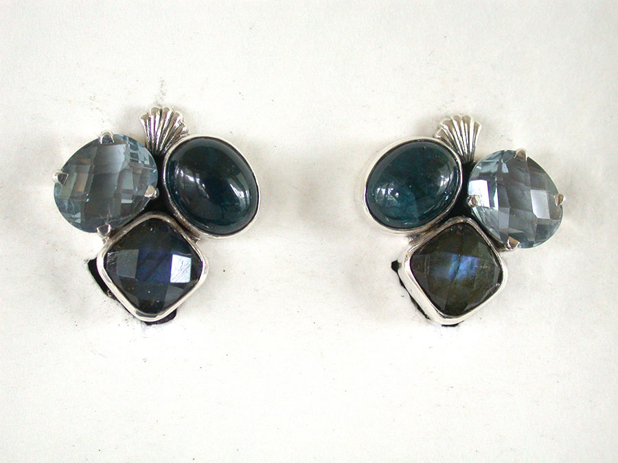 Amy Kahn Russell Online Trunk Show: Apatite & Labradorite Clip Earrings | Rendezvous Gallery