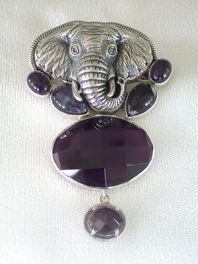 Amy Kahn Russell Online Trunk Show: Sterling Silver & Amethyst Pin/Pendant | Rendezvous Gallery