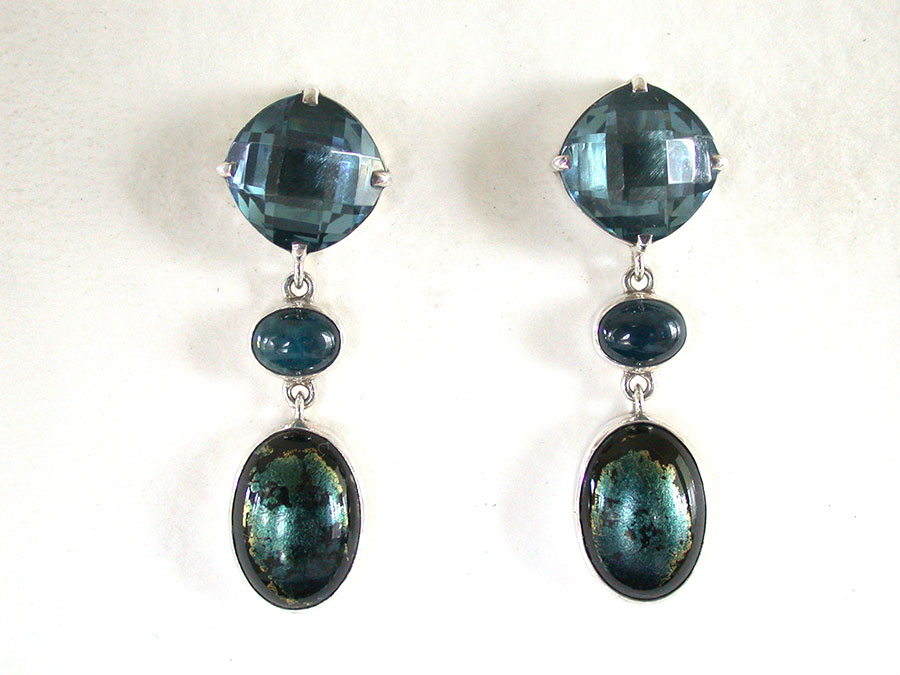 Amy Kahn Russell Online Trunk Show: Blue Quartz, Apatite & Vintage Glass Post Earrings | Rendezvous Gallery