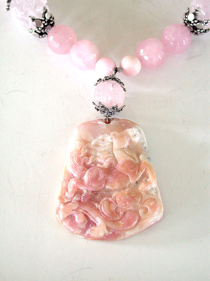 Amy Kahn Russell Online Trunk Show: Carved Pink Opal & Rose Quartz Necklace | Rendezvous Gallery