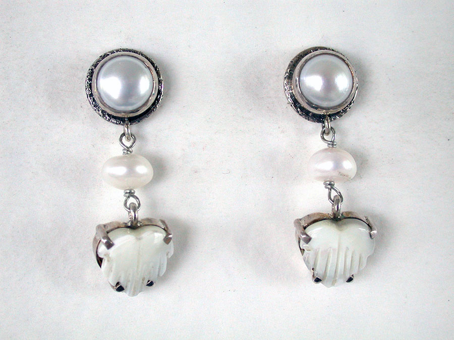 Amy Kahn Russell Online Trunk Show: Freshwater Pearl & Mother of Pearl Post Earrings | Rendezvous Gallery