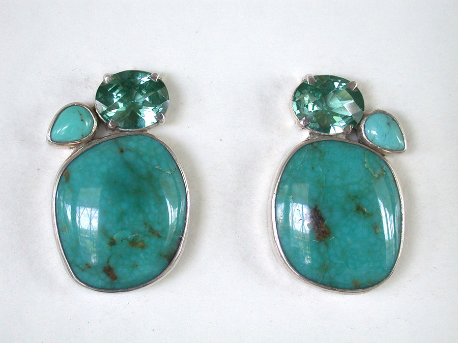 Amy Kahn Russell Online Trunk Show: Quartz & Turquoise Clip Earrings | Rendezvous Gallery