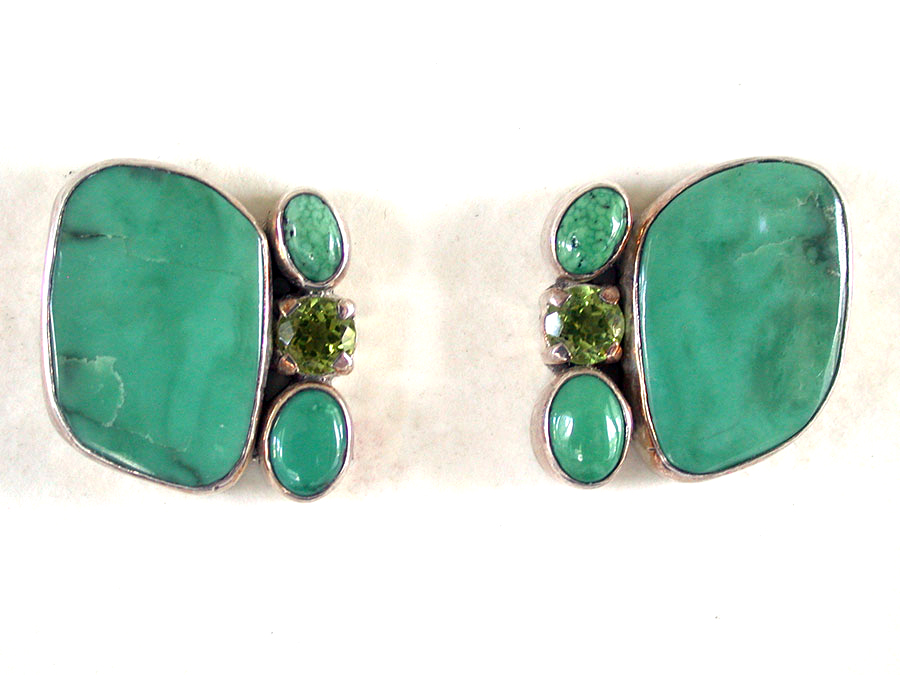 Amy Kahn Russell Online Trunk Show: Turquoise & Peridot Post Earrings | Rendezvous Gallery