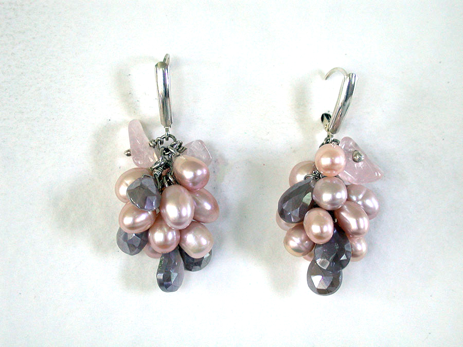 Amy Kahn Russell Online Trunk Show: Freshwater Pearl, Crystal & Rose & Quartz Earrings | Rendezvous Gallery